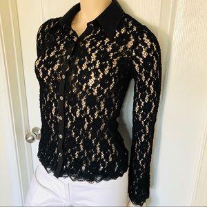 Bebe semi-sheer lace knit button-down shirt